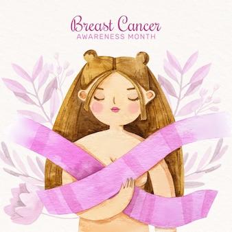 Giornata internazionale dell'acquerello contro l'illustrazione del cancro al seno