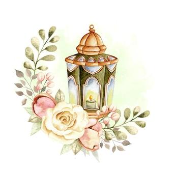 Saluto dell'acquerello islamico lanterna ramadan e eid al fitr