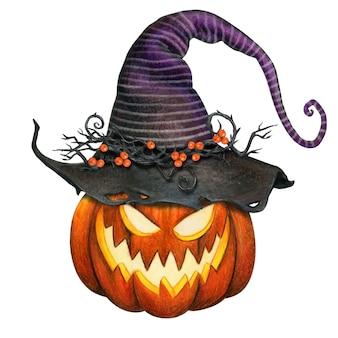 Zucca jack o lantern acquerello con cappello da strega a strisce