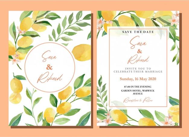 Insieme del modello della carta dell'invito del limone dell'agrume dei kumquat dell'acquerello