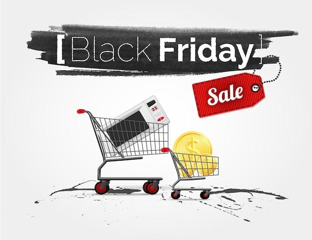 Acquerello di etichetta sulla grande vendita del black friday con carrelli della spesa