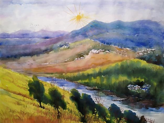 Il bellissimo lago del paesaggio dell'acquerello attraversa le montagne che viaggiano l'illustrazione del paesaggio della natura del posto