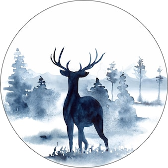 Paesaggio dell'acquerello nei colori blu con montagne di pini, cervi e nebbia
