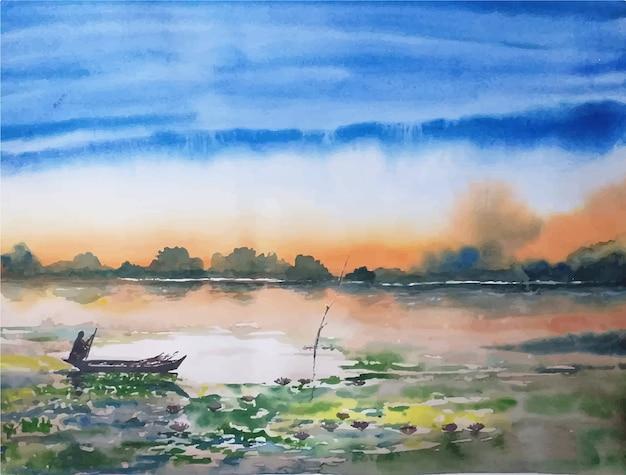 Barca disegnata a mano di paesaggio dell'acquerello sul fiume