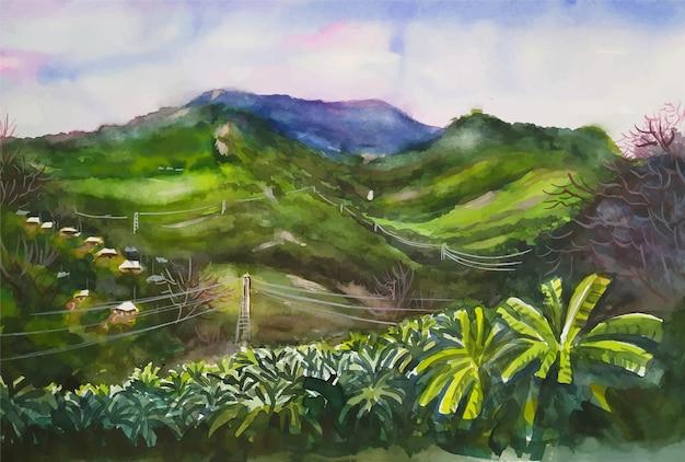 Paesaggio dell'acquerello dipinto a mano bella scena della natura montagne paesaggio illustrazione