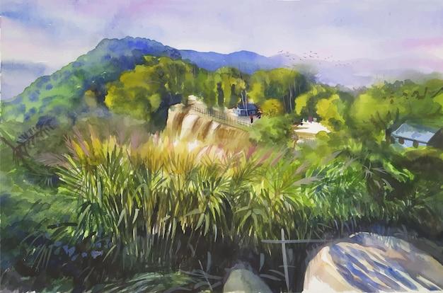 Montagne del paesaggio dell'acquerello con saccharum spontaneum, illustrazione disegnata a mano della pittura della natura di vista kashful