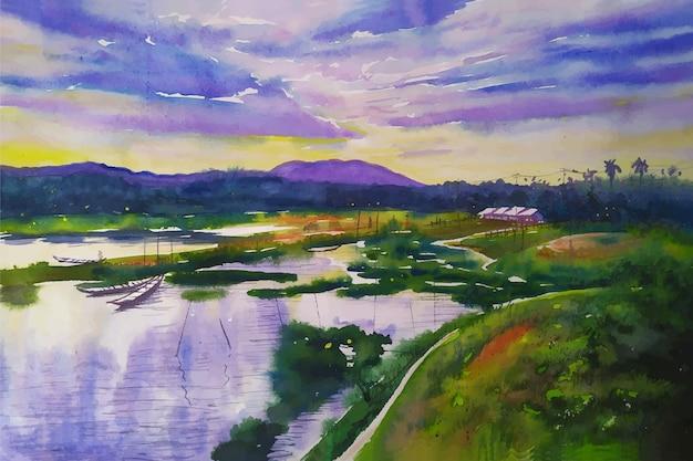 Pittura di paesaggio ad acquerello colorato di orizzonte di bellezza della natura di montagna con sfondo di illustrazione di fiume e barca