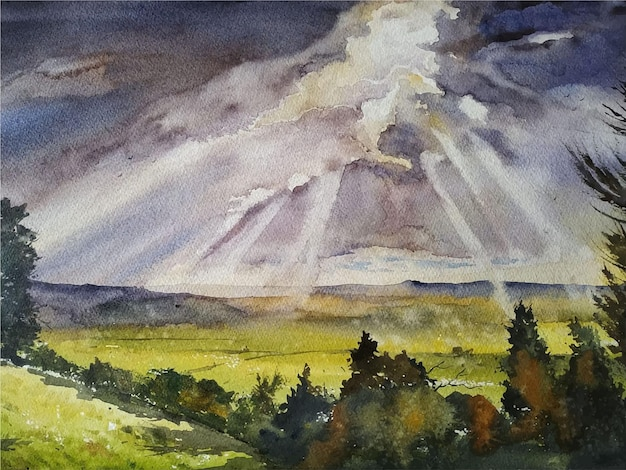 Illustrazione dell'albero disegnato a mano della pittura di paesaggio dell'acquerello