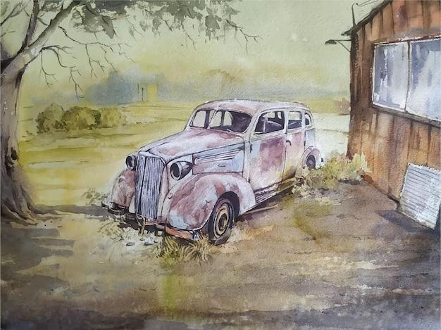 Disegnato a mano di pittura di paesaggio dell'acquerello