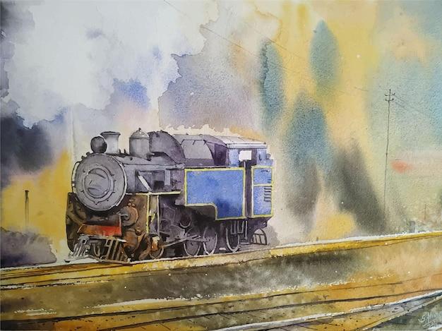 Illustrazione disegnata a mano del vecchio treno della pittura di paesaggio dell'acquerello