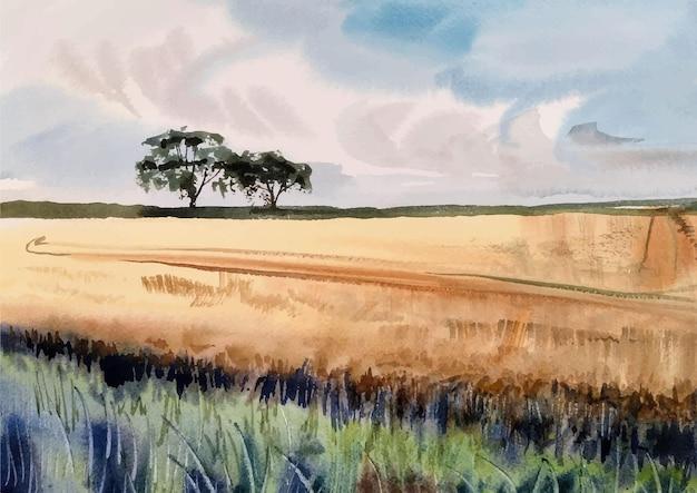 Paesaggio ad acquerello con alberi e nuvole