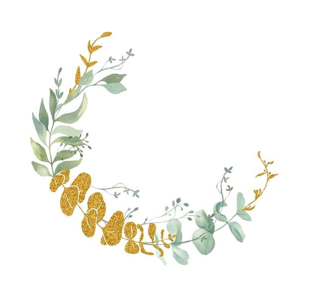 Cornice di foglie dell'acquerello