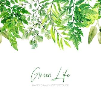 Foglie dell'acquerello, intestazione verde, bordo senza soluzione di continuità, disegnati a mano