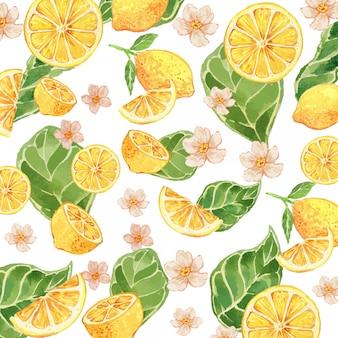 Modello senza cuciture di gouache giallo limone dell'acquerello