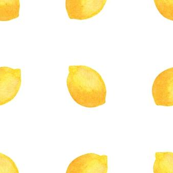 Sfondo di limoni dell'acquerello bianco. modello senza soluzione di continuità.