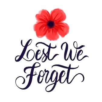 Acquerello per non dimenticare il messaggio con il fiore di papavero dipinto