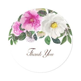 Tono rosa chiaro dell'acquerello adorabile nella cornice dello spazio del cerchio con la parola di ringraziamento