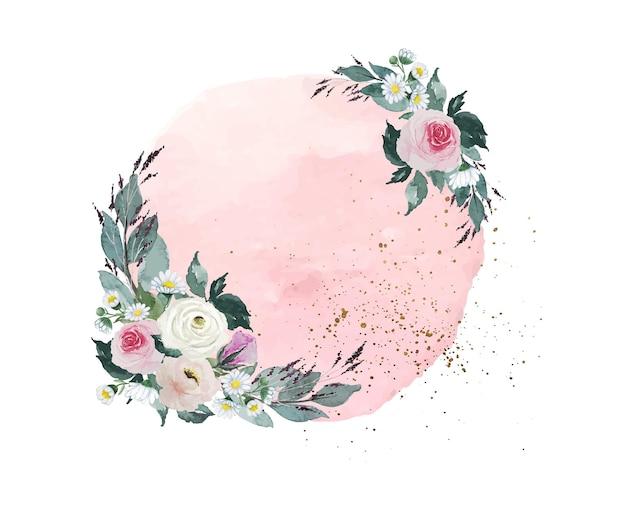 Macchia di pennello cerchio vintage rosa chiaro dell'acquerello con decorazione bouquet di rose bianche e rosse