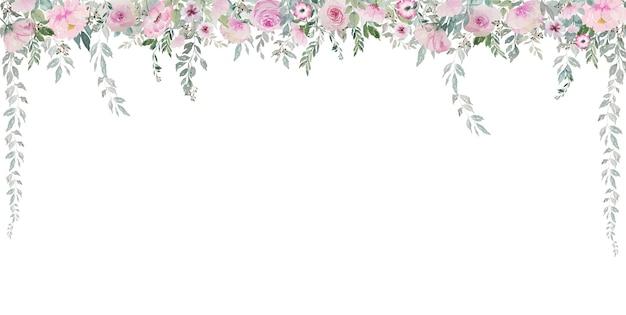 Rose rosa vintage chiare dell'acquerello con bordo della natura tenda di foglie verdi