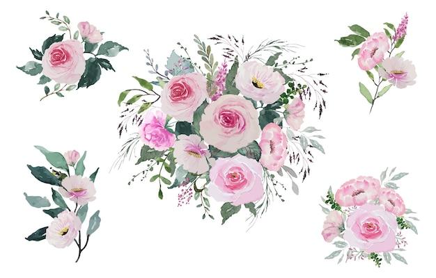 Set di bouquet di rose rosse vintage luce dell'acquerello