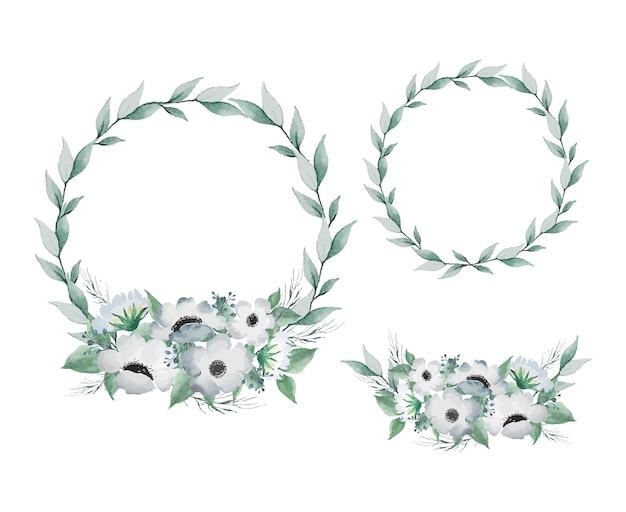 Acquerello leggero vintage piccolo fiore e foglie verdi set corona