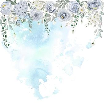 Acquerello di rose viola chiaro con fiori bianchi e tenda di foglie verdi