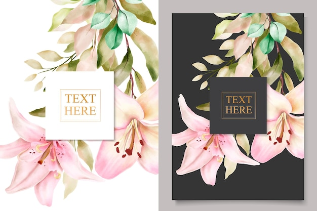 Set di biglietti d'invito fiore di giglio acquerello watercolor