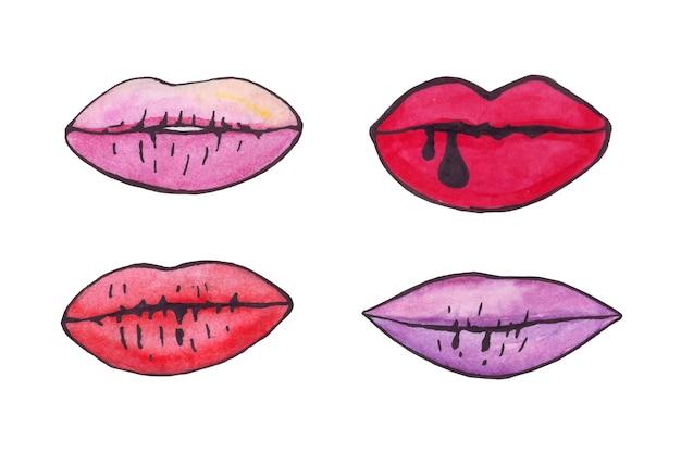 Labbra acquerello con contorno nero