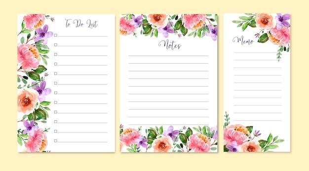 Modello di elenco di cose da fare dell'acquerello con peonie e fiore viola