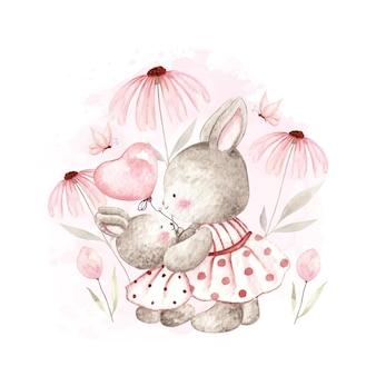 Coniglietto dell'acquerello con mamma adorabile