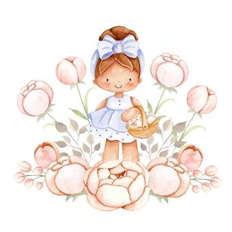 Bambina dell'acquerello con i fiori