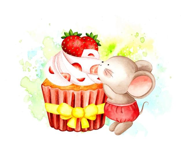 Cupcake alla fragola e topolino dell'acquerello