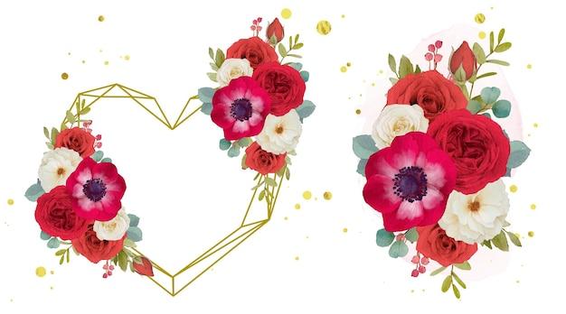 Corona d'amore ad acquerello e bouquet di fiori rossi