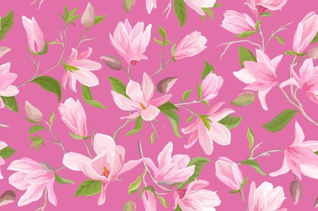 Reticolo senza giunte floreale dell'acquerello magnolia. fiori di magnolia, foglie, petali, sfondo di fiori. carta da parati giapponese per matrimoni primaverili ed estivi, per tessuto, stampe, invito, sfondo, copertina