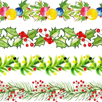 Collezione di acquerello merry christmas borders