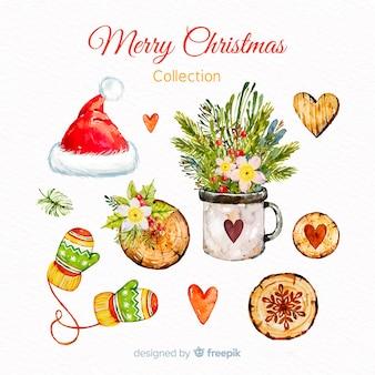 Acquerello allegra collezione di elementi natalizi