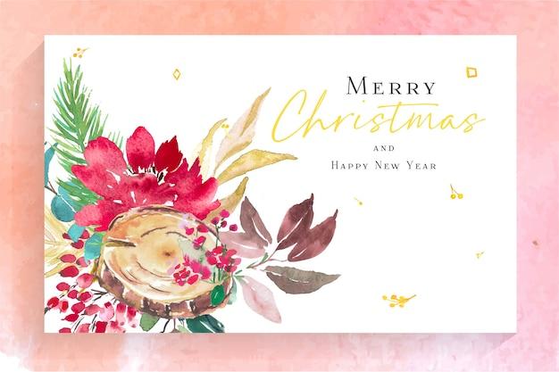 Carta di buon natale e felice anno nuovo dell'acquerello