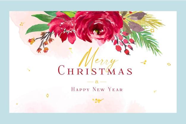Carta di auguri di buon natale e felice anno nuovo dell'acquerello