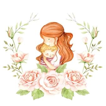 Mamma e bambino dell'acquerello in corona di rose
