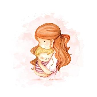 Mamma e bambino dell'acquerello