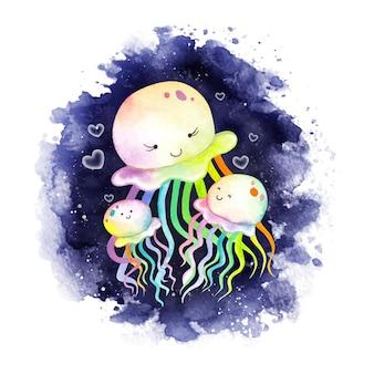 Medusa dell'acquerello madre e bambino