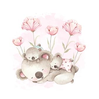 Acquerello madre e bambino koala in giardino