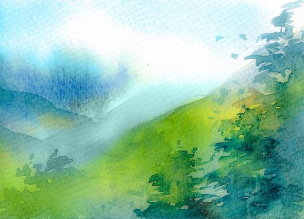 Acquerello astratto di montagna
