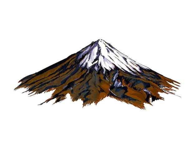 Montagna dell'acquerello su bianco