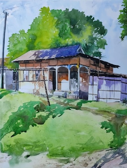 Natura dell'acquerello e bella casa sull'illustrazione disegnata a mano di landscpae di vista superiore