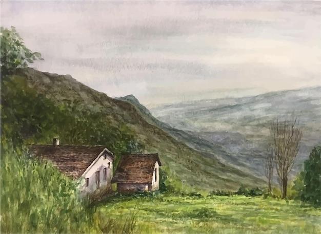 Illustrazione della casa della natura dell'acquerello in montagna