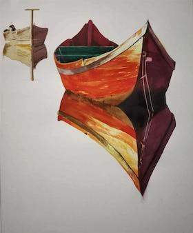 Paesaggio della natura dell'acquerello e barca disegnata a mano sull'illustrazione del fiume