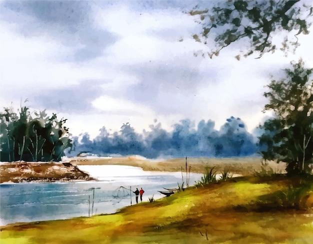 Natura dell'acquerello paesaggio rurale e illustrazione disegnata a mano del lago
