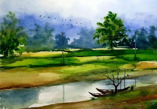 Paesaggio della natura dell'acquerello e illustrazione disegnata a mano di vita del villaggio rurale