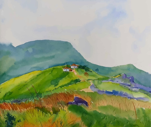 Paesaggio della natura dell'acquerello con strada di montagna